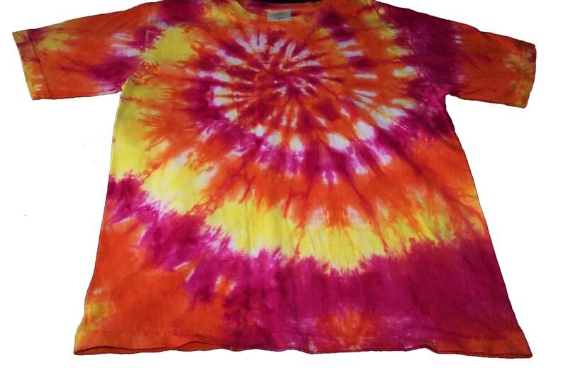 87df1fb5488f1 Tie Dyed Fuchsia, Deep Orange and Lemon Yellow Spiral Short Sleeve  Toddler/Youth T Shirt