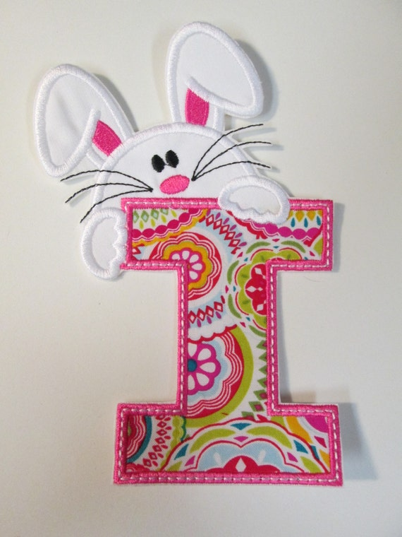 Easter Bunny Alphabet - Iron On or Sew On Applique for Children  READY TO SHIP in 3-7 Business Days