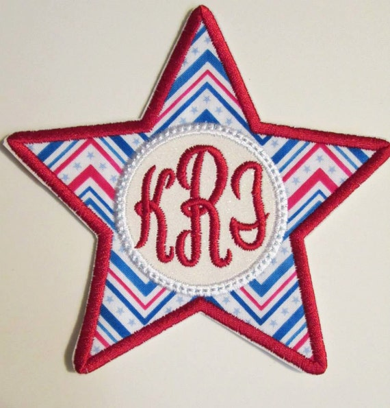 USA Glitter Star - Iron On or Sew On Embroidered Applique