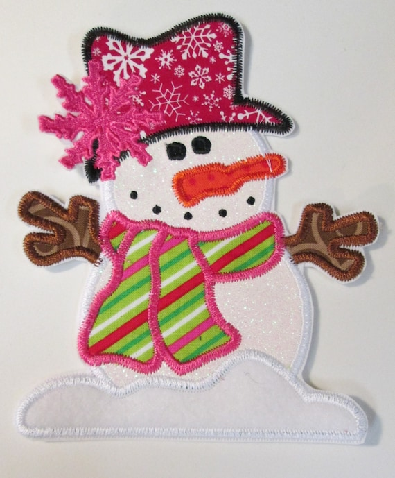 Christmas and Winter Snowman Custom Made Iron On Appliques