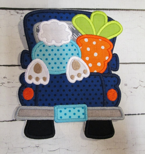 Easter Truck, Boy, Girl, Bunny, Carrot, Easter, BigBlackDogDesigns, Handmade, Applique , Patch