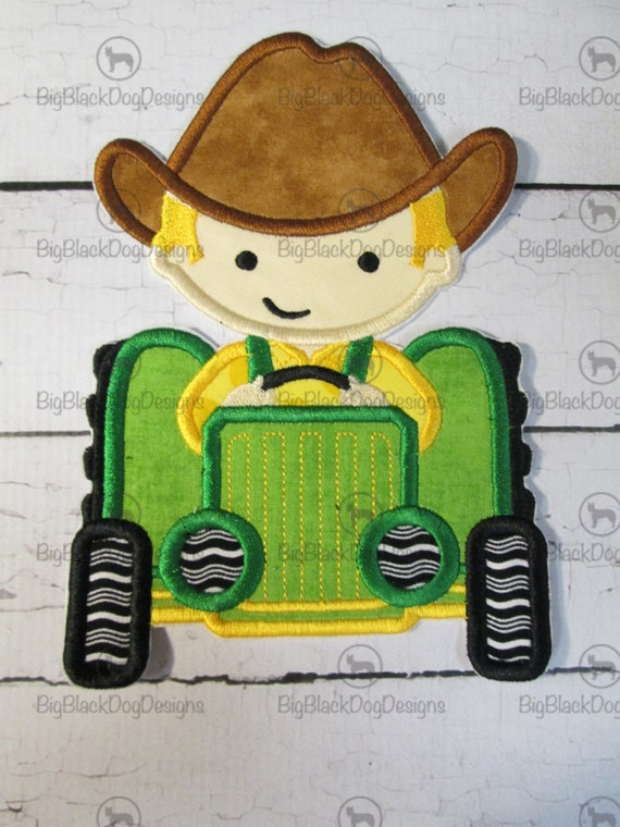 Boy or Girl's Tractor - Iron On or Sew On Embroidered Applique