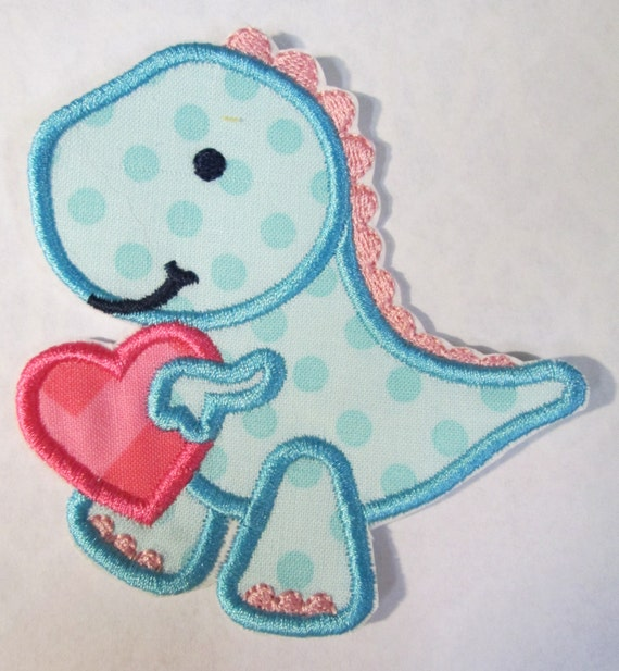 Valentine Dino, Heart, Dinosaur, Valentine's Day, Iron On Applique, Patch, Sew On Applique Patch, Custom Made, Handmade