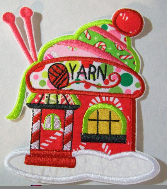 Christmas Village Yarn Cottage House, Iron On, Sew On, Applique Patch, Patches, BigBlackDogDesigns, Christmas, Embroidery
