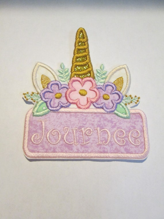 Unicorn Name Plates - Iron On or Sew On Applique Patches - Embroidered - Handmade - Custom Made