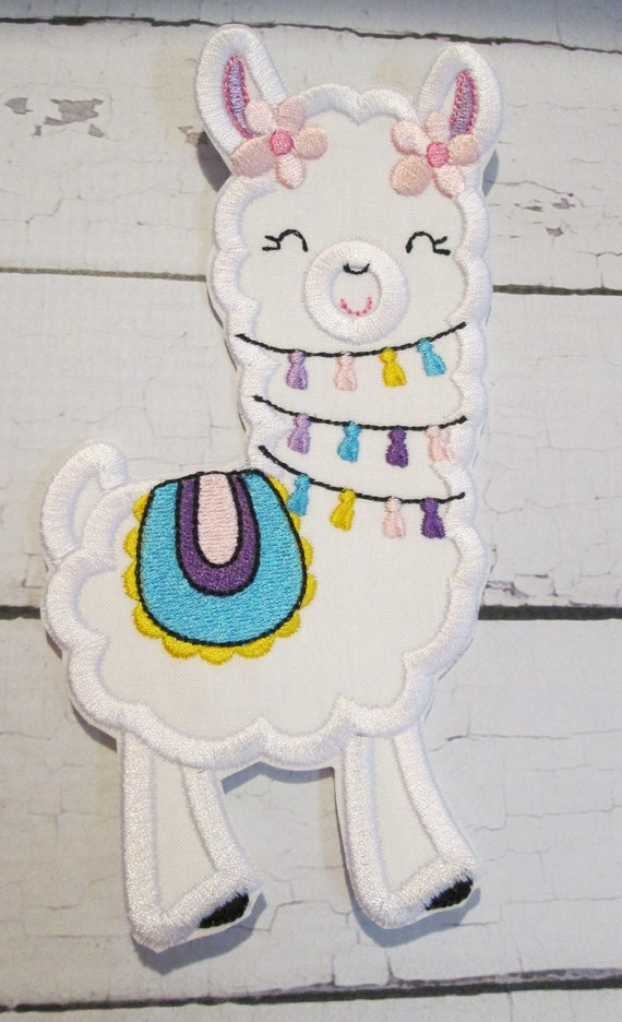 Love Your Llama Applique Patches - Iron On or Sew On Embroidered Patch - Handmade - Custom Made
