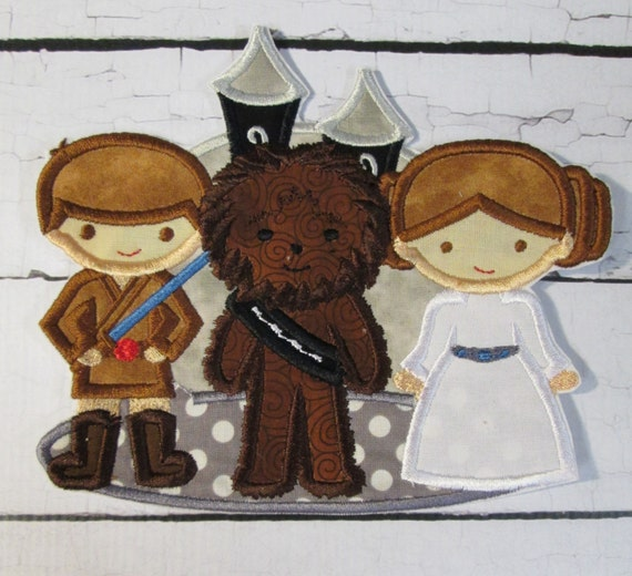 Star World Trio - ron On Applique Patch, Sew On, Custom Made, Embroidered, Patches