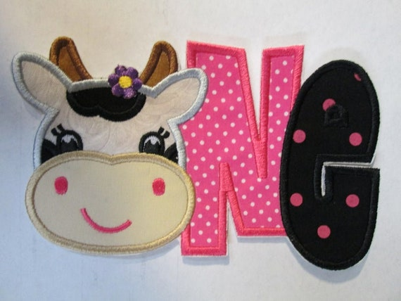 Girl Cow ONE ,Iron On or Sew On Embroidered Appliques - Fabric Embroidered Custom Made