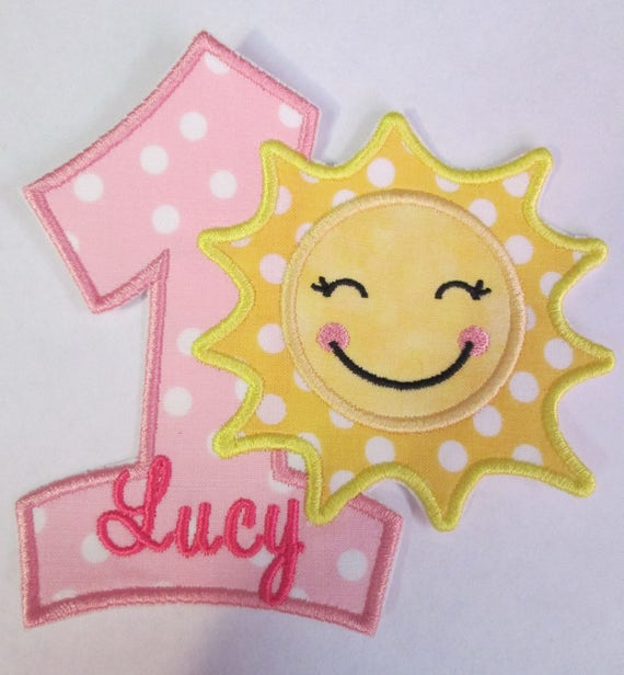 Sun Birthday Number or Letters, Iron On Applique Patch, Sew On, Custom Made, Embroidered, Patches