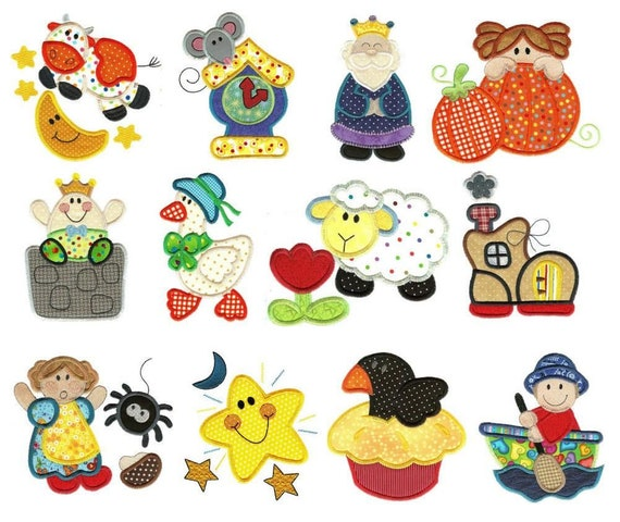 Nursery Rhymes Applique Designs - Iron On, Sew On, Glue On, Applique Patches, Handmade, BigBlackDogDesigns