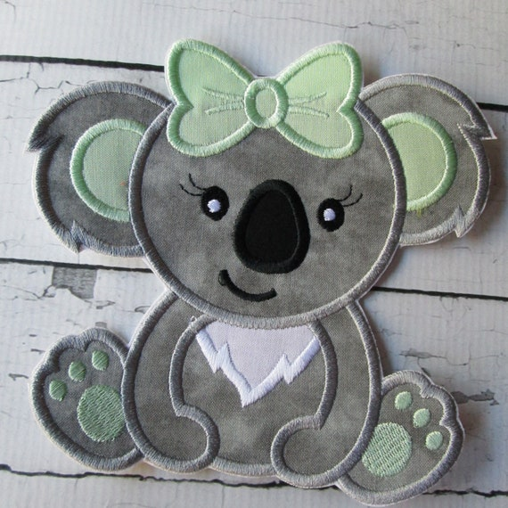 Koala - Girl and Boy Koala Iron On Embroidered Patch Applique - Handmade - Embroidery