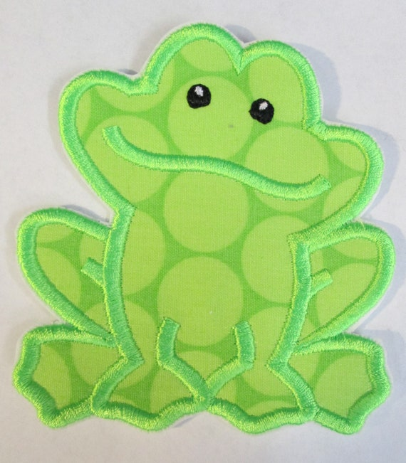 Frog - Iron On or Sew On Embroidered Applique Patch