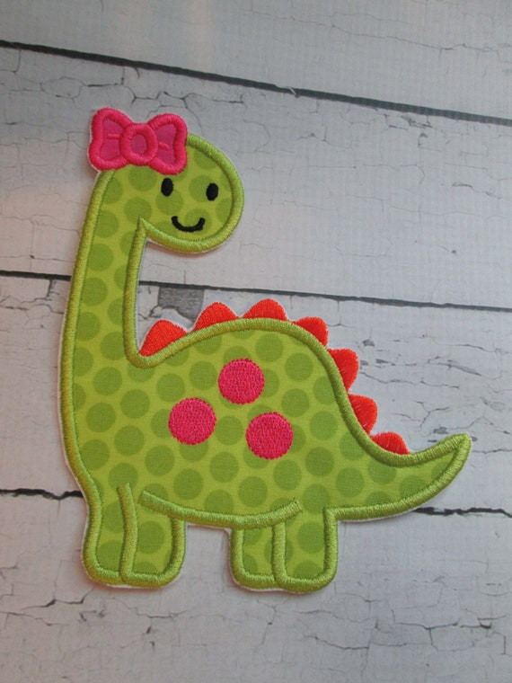 Baby Girl Dinosaur Iron On Embroidered Applique, Patches, Patch, Handmade, Custom Made