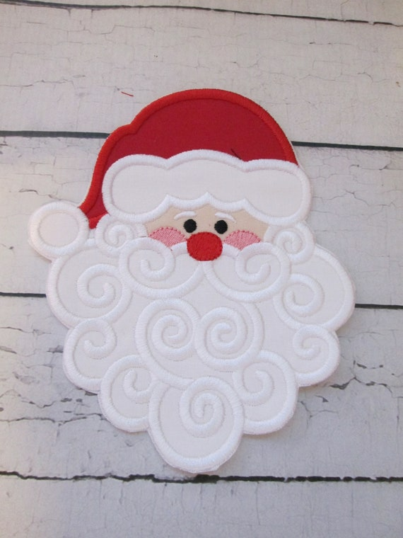 Christmas Santa, Iron On Applique Patch, Sew On, Custom Made, Embroidered, Patches, Santa, Christmas, BigBlackDogDesigns