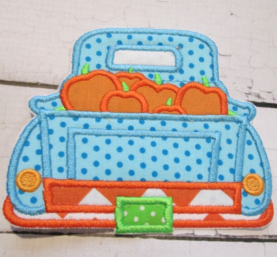 Pumpkin Trucks, Handmade, Iron On Applique Patch, Sew On, Custom Made, Embroidered, Patches, BigBlackDogDesigns