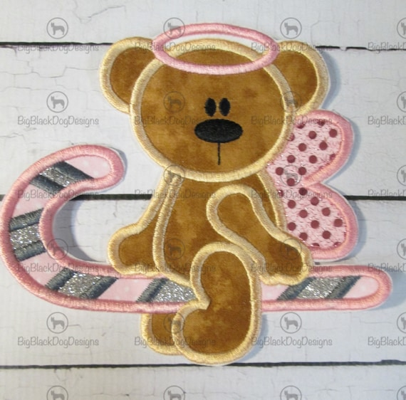 Candy Cane Christmas Angel Bear - Iron On Embroidered Applique