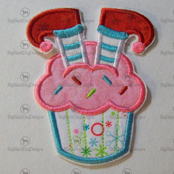 Christmas Cupcakes, Iron On Applique, Patch, Patches, Embroidery, Embroidered Custom Made
