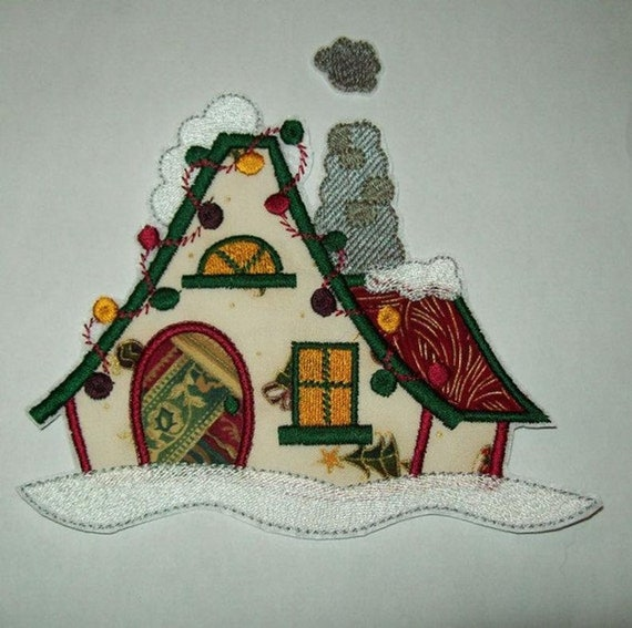 Christmas Village House - Iron On - Applique - Patch - Patches - Embroidered Applique - Custom Made