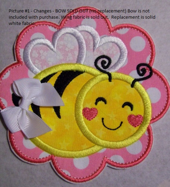 Bee Scallop - Iron On Applique Patch, Embroidered, Custom Made, Handmade, Sew On, Glue On