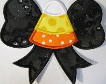 Halloween Iron On Applique - Candy Corn Bow