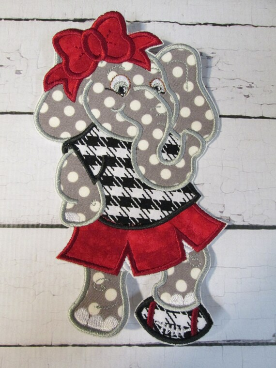 Cheerleader Mascot Applique Patches, Elephant, Bulldog, Gator, Iron On Applique Patch, Sew On, Custom Made, Embroidered, Patches
