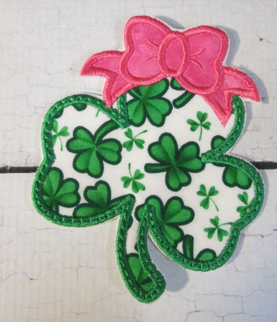 Shamrock with Bow, Iron On Applique Patch, Sew On, Custom Made, Embroidered, Patches