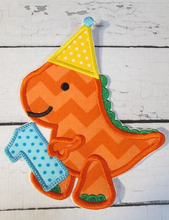 Dino Birthday, 1, 2, 3, 4,  Iron On Applique Birthday Patch, Patches, Applique, Birthday, Dinosaur, One, Two, Three, Four