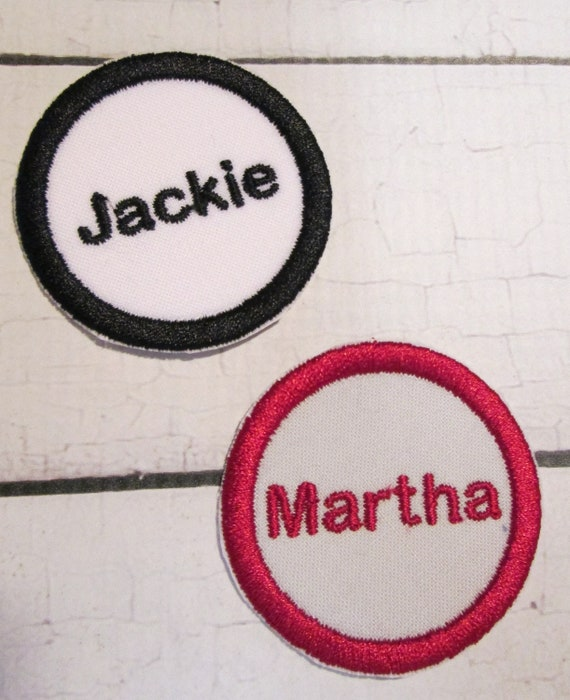 Circle Tag Applique, Circle, Name Tag, Name Frame, Iron On Applique Patch, Sew On, Custom Made, Embroidered, Patches
