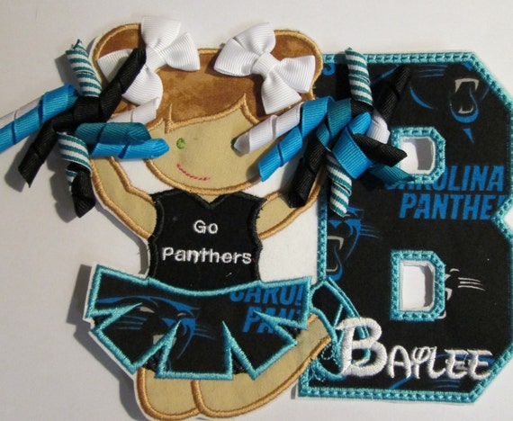 Cheerleader with Letter and Ribbons - Iron On or Sew On Embroidered Appliques