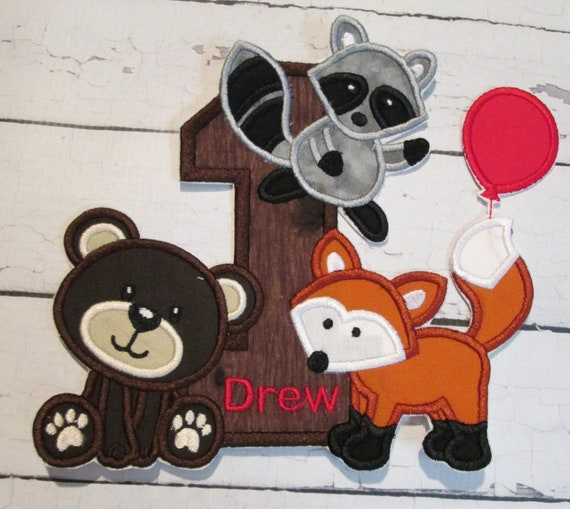 Woodland Animal Number or Letter, Iron On Applique Patch, Sew On, Custom Made, Embroidered, Patches