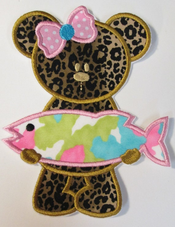 Girly Bear with Fish - Iron On Applique Patch, Sew On, Custom Made, Embroidered, Patches