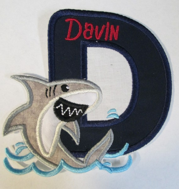 Shark Birthday Letter or Number, Iron On Applique Patch, Sew On, Custom Made, Embroidered, Patches