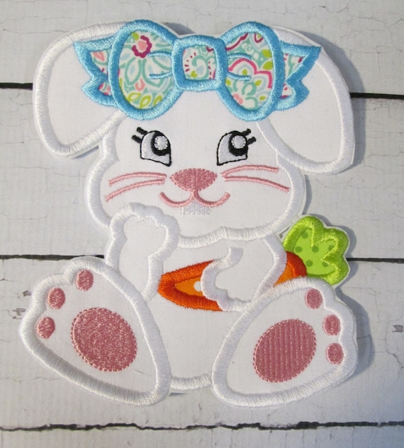 Easter Bunny Girl with Carrot - Iron On or Sew On Embroidered Applique