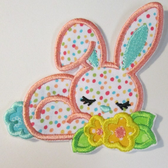 Girly Easter Bunny - Iron On or Sew On Embroidered Custom Appliques
