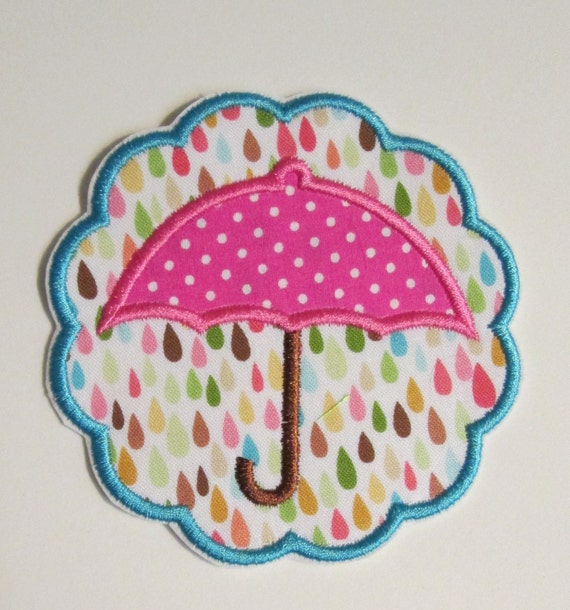 Umbrella , Spring, Scallop, Iron On Applique Patch, Sew On, Custom Made, Embroidered, Patches