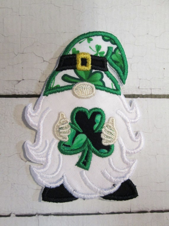 Gnome with Shamrock or Clover Iron On Embroidered Applique Patch, Handmade, Custom Made