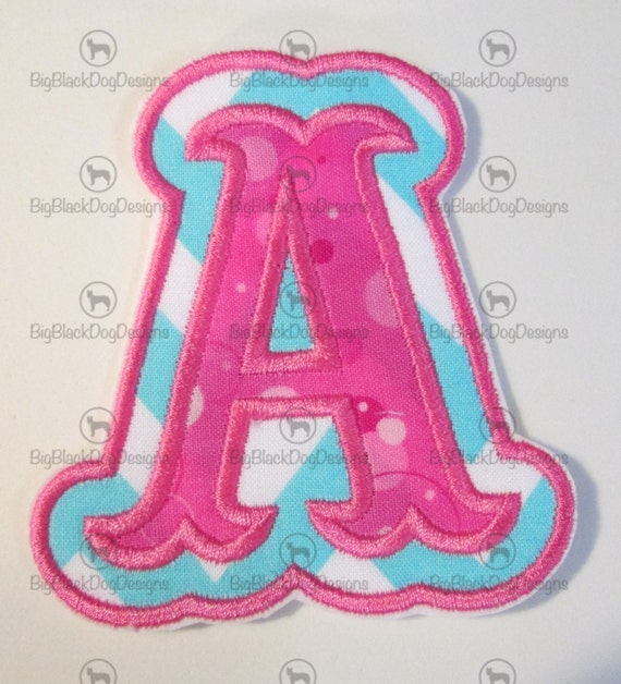 Iron On Applique -3 Inch Double Carnival Style Letters  READY TO SHIP in 3-7 Business Days