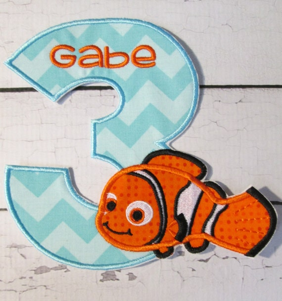 Little Neemo Birthday Set - Iron On or Sew On Embroidered Custom Made Applique