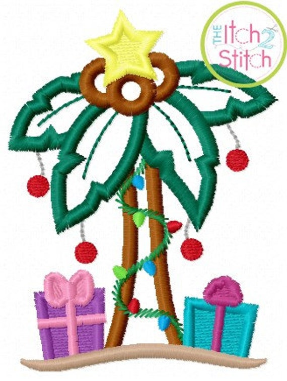 Christmas Palm Tree Iron On Applique Patch, Christmas, Palm Tree, Lights, Star, Coconuts, Presents, Iron On, Sew On, Patches, Glue On
