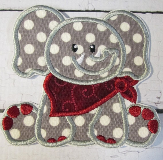 Elephant with Bandana, Iron On Applique Patch, Sew On, Custom Made, Embroidered, Patches