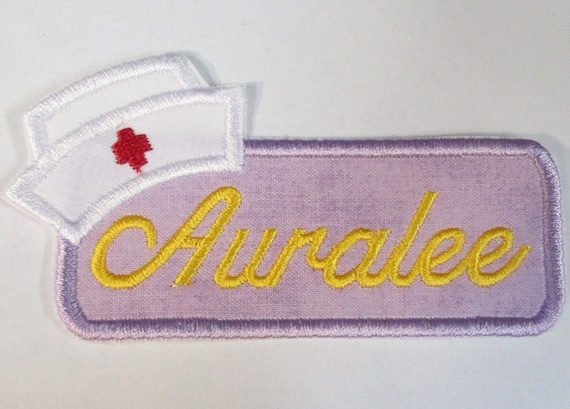 Nurse's Name Plate, Iron On Applique Patch, Sew On, Custom Made, Embroidered, Patches
