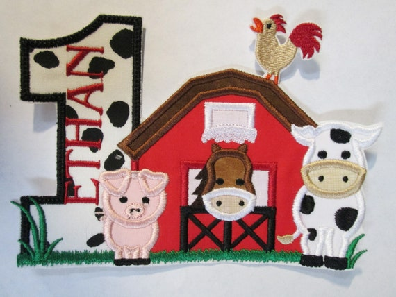 Barn, Number, Birthday, Farm Animals, Pig, Cow, Horse, Iron On Applique Patch, Sew On, Custom Made, Embroidered, Patches