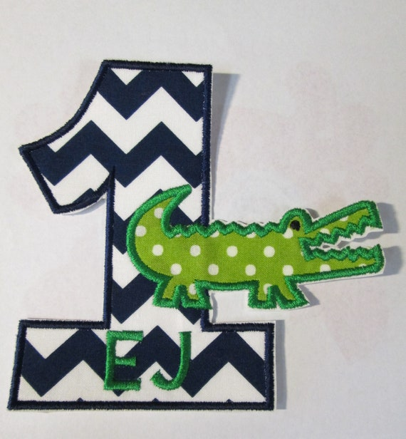Gator Birthday Number or LetterIron On Applique Patch, Sew On, Custom Made, Embroidered, Patches