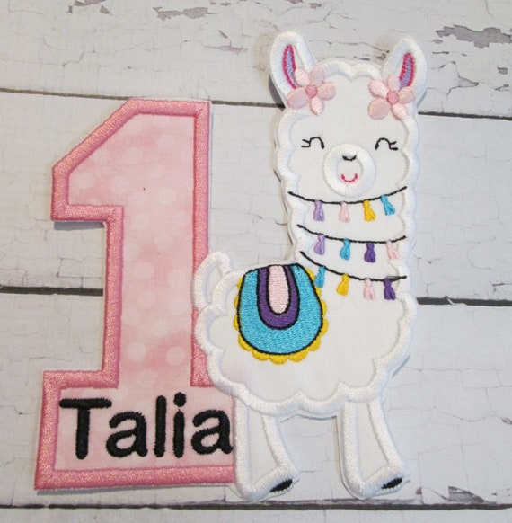 Llama Birthday Set - Custom Made Embroidered Applique Patch - Iron On - Sew On - Glue On - Handmade
