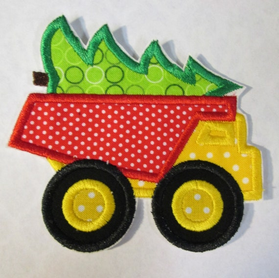 Hauling Tree Dump Truck - Iron On or Sew On Embroidered Custom Made Applique