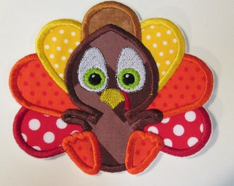 Thanksgiving Baby Turkey Boy or Girl Iron On Appliques