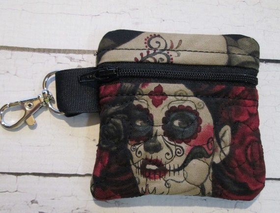 Zena Zipper Pouch, Las Elegantes - All Sizes - Bag, Handmade Bag Accessory - Skull Quilted, Embroidered Zipper Bag with Lobster Clasp