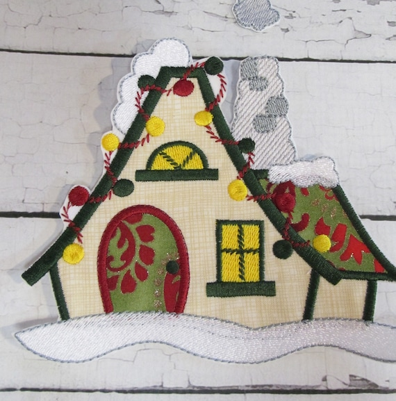 Christmas Village Houses - Iron On - Applique - Patch - Patches - Embroidered Applique - Custom Made