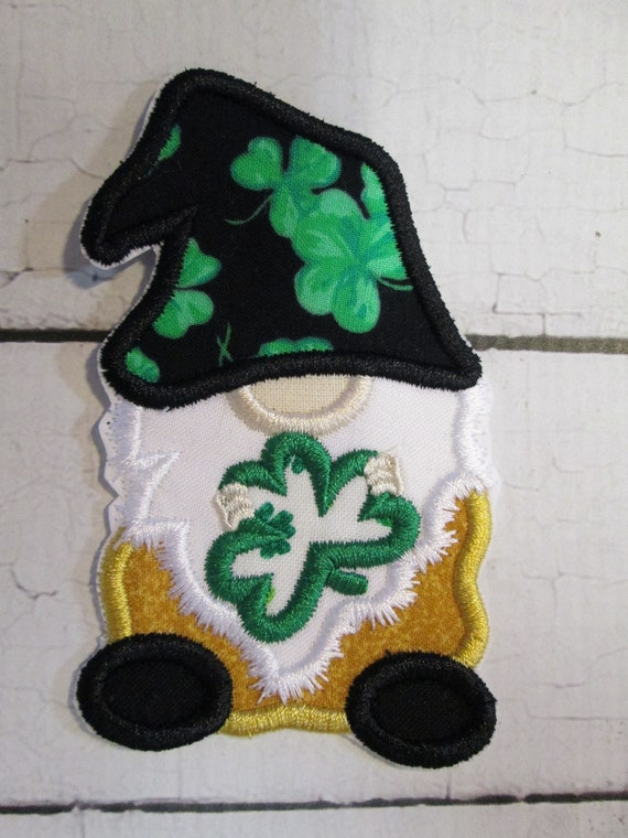 Gnome Shamrock - Iron On , Sew On, Glue On Embroidered Applique Patch, Clover, St. Patricks Day