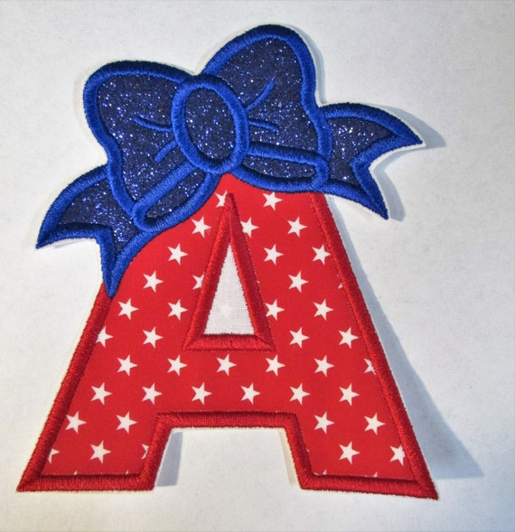 Numbers or Letters with Bow , Iron On Applique Patch, Sew On, Custom Made, Embroidered, Patches